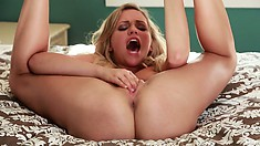 Nasty slut loves to be wide open with legs behind her head to dig deep in that pussy