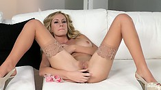 Blonde in nylons spreads out for some hot dildo pussy fucking