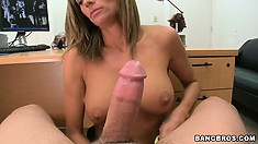 Tattooed cougar gets it first and gets it really deep in her cunt