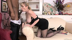Curvaceous woman pays extra attention to the dick of her partner