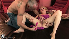 Vigorous granny with immensely hairy cunt gets banged hard by horny grandpa