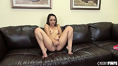 Kristina Rose pounds her tight young gash with a dildo on camera