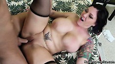 Claire Damese rubs her massive tits while taking a deep plowing