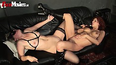 Two kinky mature lesbians get together on the couch to fulfill their wild fantasies