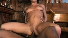 All of this nympho's holes are open for her enormously hung black buddies