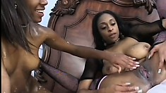 Carmen Hayes gets her black pussy pleased by a fellow ebony babe