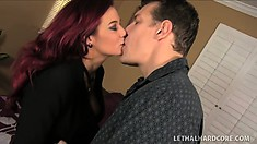 Eye-filling beauty Ryder Skye gets naked in front of her client