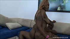 Chunky ebony lady with a massive booty enjoys the pleasure a huge black rod provides