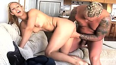 Skinny-fat bitch gets her trashy holes filled in a cuckold bang
