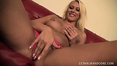 Sexy young blonde moans while riding a horny dude's bulging jackhammer