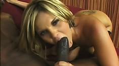 McKenzie Pierce struts her stuff before she gobbles up and fucks a black cock