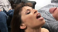 Striking lady with big tits gets fucked hard by a horny stud in front of her husband