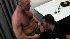 Horny gay cop fucks the suspect's hungry butt hole all over the bed