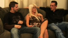 Trashy blonde mom Summer gets her holes pounded deep by two young guys