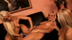 Sexy blonde lesbians pleasure each other with their sex toys