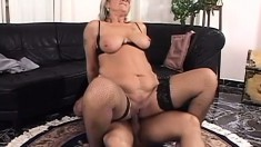 Naughty mature blonde takes a hard dick in her cunt and a huge cumload in her mouth