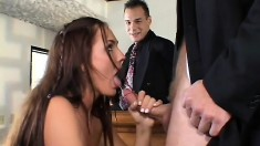 Experienced wife seduces two insatiable guys and fucks them hard