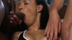 Sensual and sexy MILF plays with their thick dicks in biracial DP