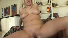 Busty blonde with a hot booty Alicia Rhodes has a black guy drilling her holes