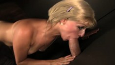 Sweet blonde goes for confessional and gets a cock in a glory hole instead