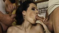 Petite brunette hussy with short hair gets slammed on big cocks