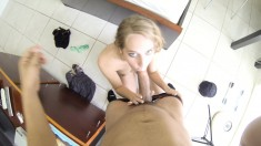 Horny lady of the evening eats his meat and gets drilled while he watches in POV