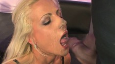 Hot babes with great oral skills take big loads of cum in their mouths