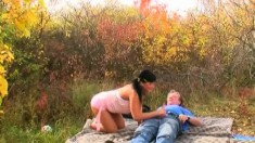 Splendid Young Brunette With Pigtails Fucks An Old Man's Cock Outside