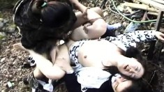Horny Japanese woman gets her hairy cunt banged raw in the woods