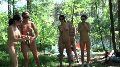 Gorgeous campers go nude in the middle of the woods and have some fun