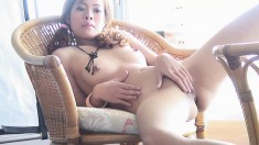 Sophia Lee holds her pussy wide open while fingerbanging herself