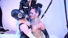 Horny lesbian girls Ineta, Nikoletta and Judith have a kinky threesome