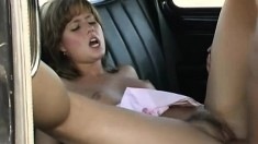 Gabriela spreads her legs and gets her pussy wrecked in a car