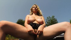 Sexy cowgirl Katrin poses outside and goes in to toy her horny twat