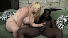 Busty blonde broad can't wait to feel this huge black cock in her pussy