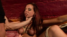 Submissive redhead with big boobs Asley fully enjoys a rough fucking