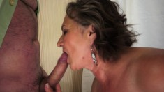 Big breasted granny touches herself and gets pounded by a young stud