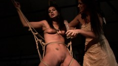 Insatiable Sorana gets tied up with rope and drilled with a toy