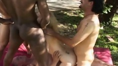 Hot blonde Amber Williams has four horny dudes hammering all her holes