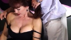 Lusty redheaded MILF is eager to taste this guy's immense fuck rod