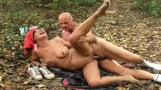 Grandma And Grandpa Get It On And He Busts A Nut Outside On The Ground