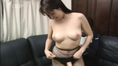 Busty Japanese Babe Mayu Toys Herself, Gets Drilled And Swallows A Load
