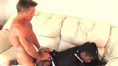 Dirty black maid in sexy lingerie has her white boss banging her peach