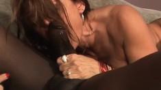 Brunette MILF Jillian gobbles up a black dick and gets hammered
