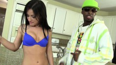 Horny brunette housewife Jennifer White takes a black bro home for a quick fuck in the kitchen