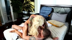 Tattooed blonde with big boobs gets her juicy slit devoured and fucked