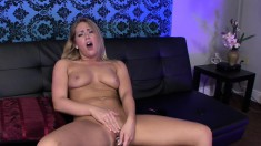 Busty babe Carter Cruise plays with sex toys and strokes a thick pole