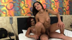 Two Buxom Shemales Take Turns Deeply Drilling Each Other's Tight Asses