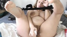Hairy Milf play with anal toys