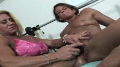 Mature stocking milfs lesbian ass toying